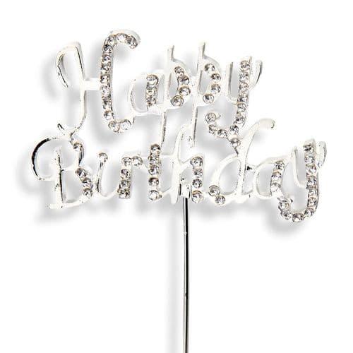 Diamante Happy Birthday on Silver Stem