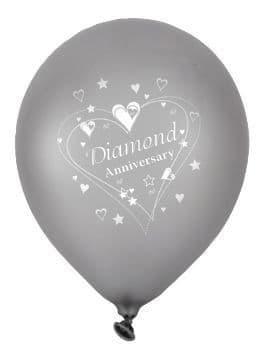 "Diamond Anniversary Latex Balloons Pearlescent 2 Sided Print 6 x 12"" per pack"