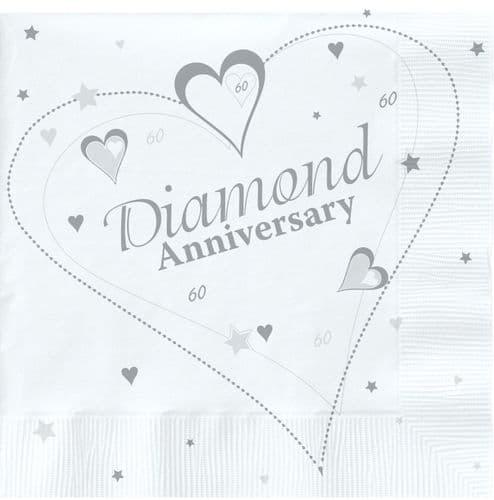 Diamond Anniversary Lunch Napkins 2 ply 18's