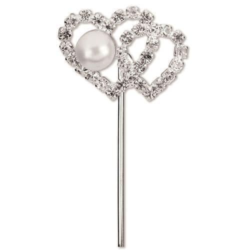 Diamond/Pearl Double Heart on Stem