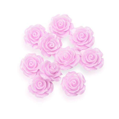Dusky Pink Resin Rose Flower - 14mm (10) - 6 packs