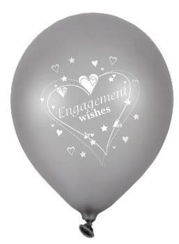 """Engagement Wishes Latex Balloons Pearlescent 2 Sided Print 6 x 12"""" per pack"""