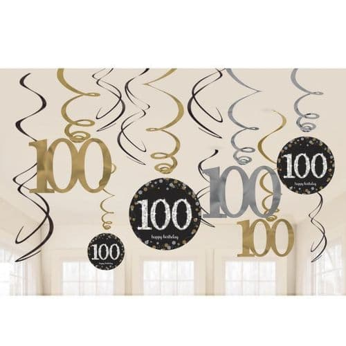 Gold Celebration 100th Birthday Swirl Decorations 12 per pack.