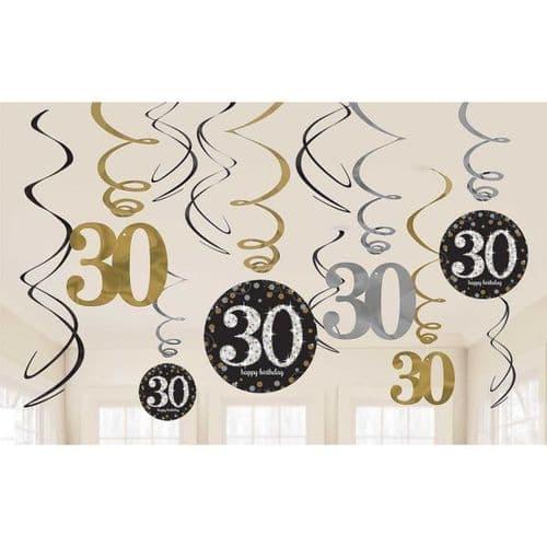 Gold Celebration 30th Swirl Decoration Value Pack 12 per pack.