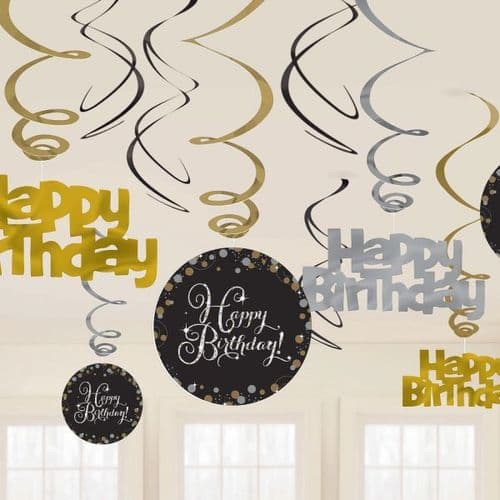 Gold Celebration Swirl Decorations 12 per pack.