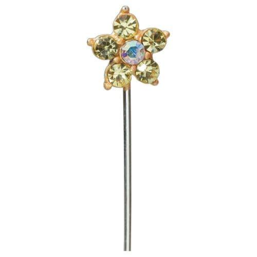 Gold Diamond Daisy on Stem - dia. 15mm - pack of 10