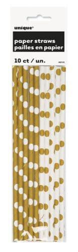 Gold Dot Paper Straws 10's