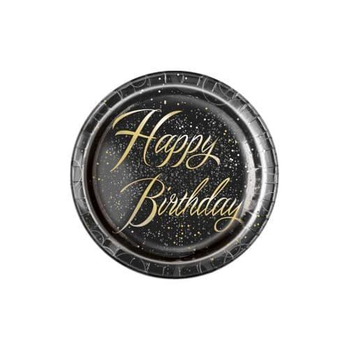 "Gold Glitz Happy Happy Birthday 9"" Plates 8's"