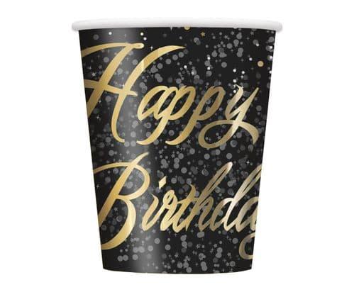 Gold Glitz Happy Happy Birthday 9oz Cups 8's