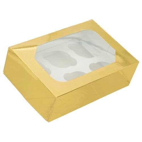 Gold Glossy Muffin/Cupcake Box + Insert ( holds 6 Cakes) - pack of 2