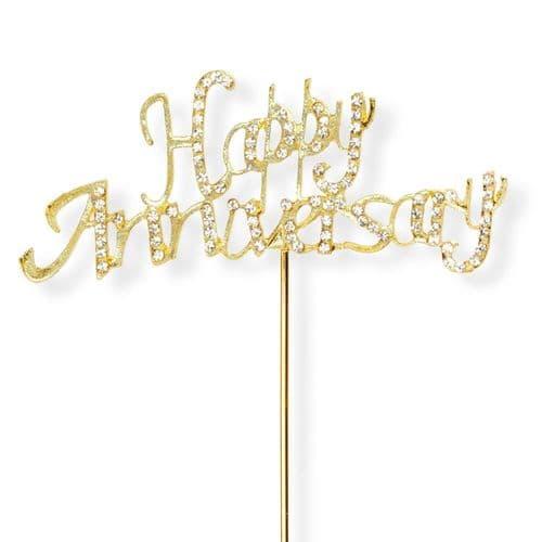 Gold Happy Anniversary on Stem