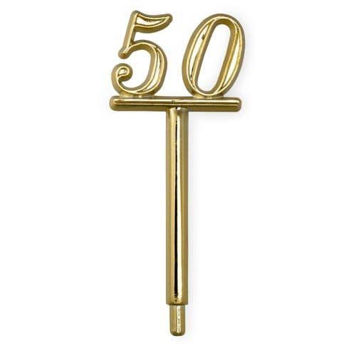 Gold Plastic '50' on Stem - pack of 5