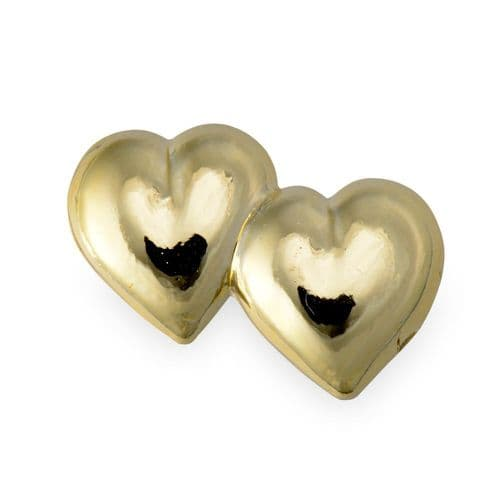 Gold Plastic Double Hearts / Flat - pack of 10