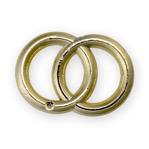 Gold Plastic Round Double Rings / Flat - pack of 10