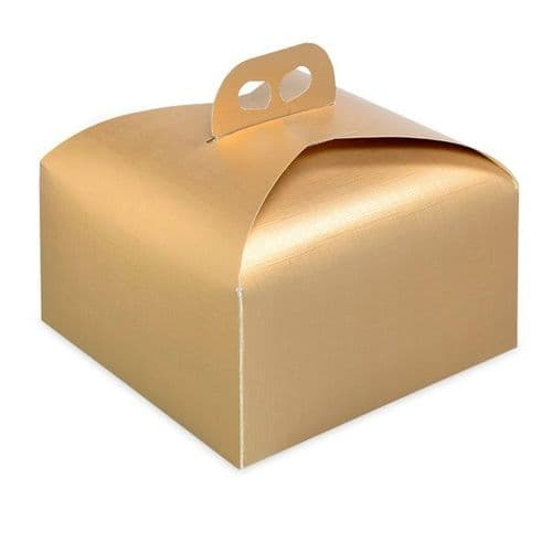 Gold Silk Square Box with Handle - pack of 10