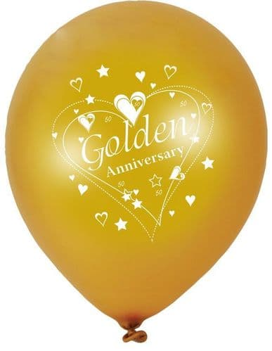 """Golden Anniversary Latex Balloons Pearlescent 2 Sided Print 6 x 12"""" per pack"""