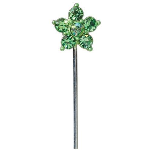 Green Diamond Daisy on Stem - dia. 15mm - pack of 10
