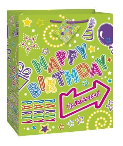 Green Neon Happy Birthday Giftbag-Large
