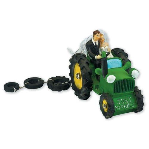 Green Resin Bride & Groom on Tractor
