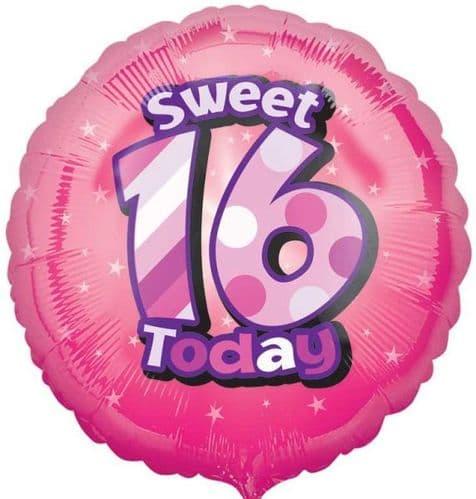Happy Sweet 16th Birthday Circle Foil Balloon