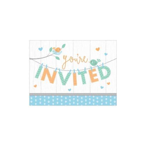 Hello Baby Boy 8 Invitations & Envelopes