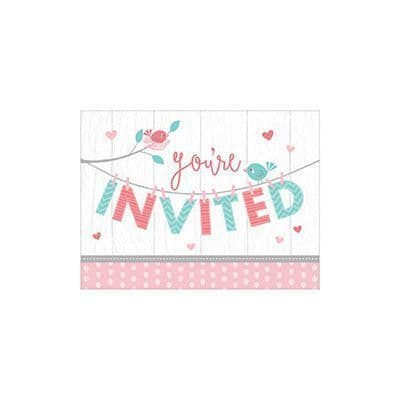 Hello Baby Girl 8 Invitations & Envelopes