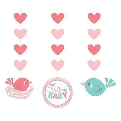 Hello Baby Girl Hanging Cutouts 3 per pack