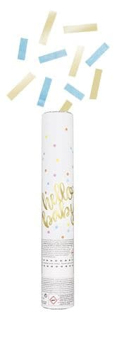 Hello Baby Gold Baby Shower Confetti Cannon Blue & Gold