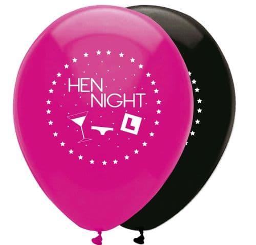 "Hen Night Latex Balloons 2 Sided Print 6 x 12"" per pack"