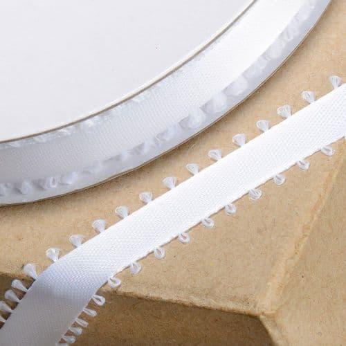 Icing White Picot Edge Satin Ribbon - 12mm