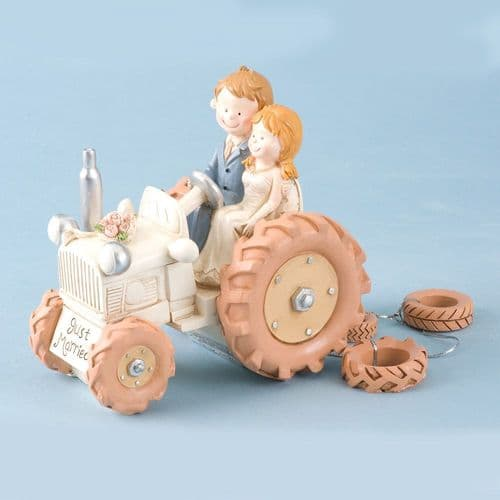 Ivory Resin Bride & Groom on Tractor