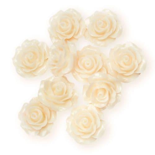 Ivory Resin Rose Flower - 14mm (10) - 6 packs