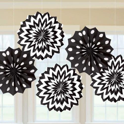 Jet Black Dots & Chevron Paper Fans 20cm pack of 5.