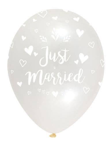 """Just Married Latex Balloons Crystal Clear All Round Print 6 x 12"""" per pack"""