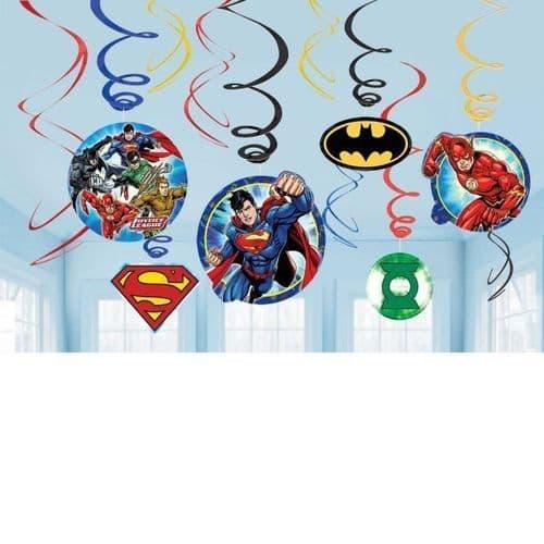Justice League Swirl Decorations 12's