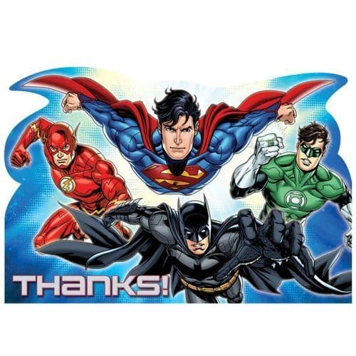 Justice League Thank You Cards & Envelopes 8's