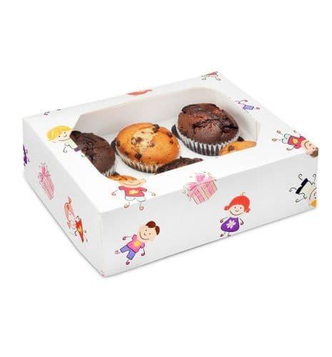Kiddies Muffin /Cupcake Box + Insert  (holds 6 cakes) - pack of 2