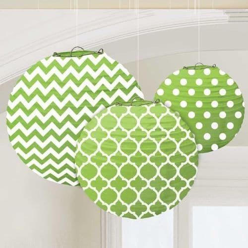 Kiwi Green Dots & Chevron Round Lanterns 24cm pack of 3.