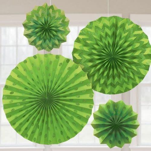 Kiwi Green Glitter Paper Fans/4