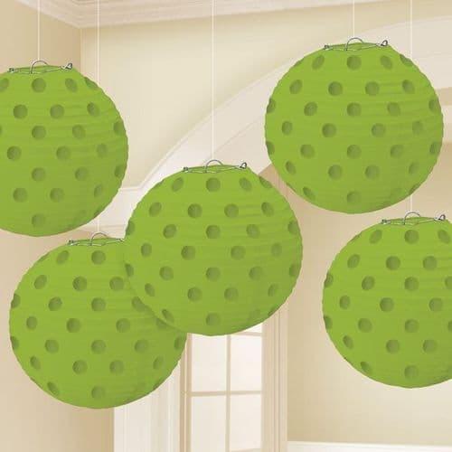 Kiwi Green Hot Stamped Paper Lanterns 12cm pack of 5.