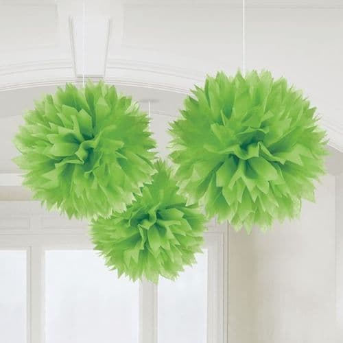 Kiwi Green Paper Fluffy Decorations 40cm pack of 3.