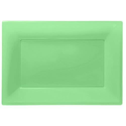 Kiwi Green Plastic Serving Platters pack of 3.