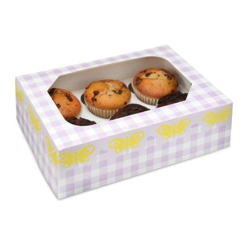 Lilac Gingham/Butterfly Muffin/Cupcake Box + Insert (holds 6 cakes) - pack of 2