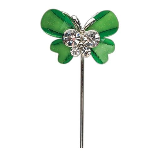 Lime Butterfly with Diamante Centre on Stem - pack of 6