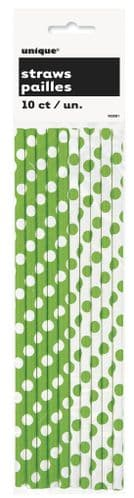 Lime Green Dots Paper Straws 10's
