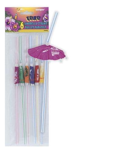 Luau Umbrella Straws 6pc