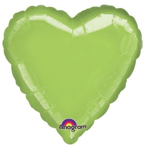 Metallic Lime Green Heart Foil Balloon