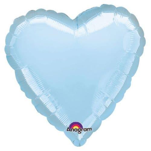Metallic Pearl Pastel Blue Heart Foil Balloon