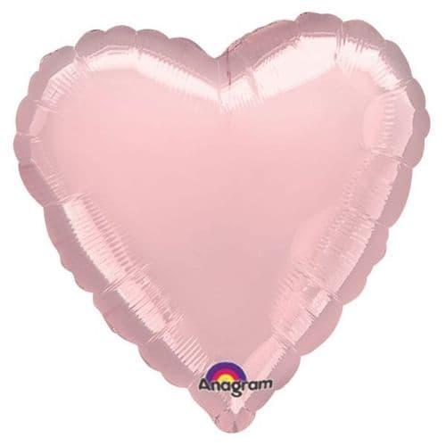 Metallic Pearl Pastel Pink Heart Foil Balloon