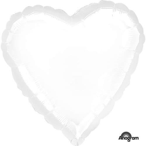 Metallic White Heart Foil Balloon